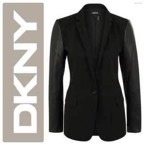 DKNY Luxurious Faux Leather Sleeves Blazer Black